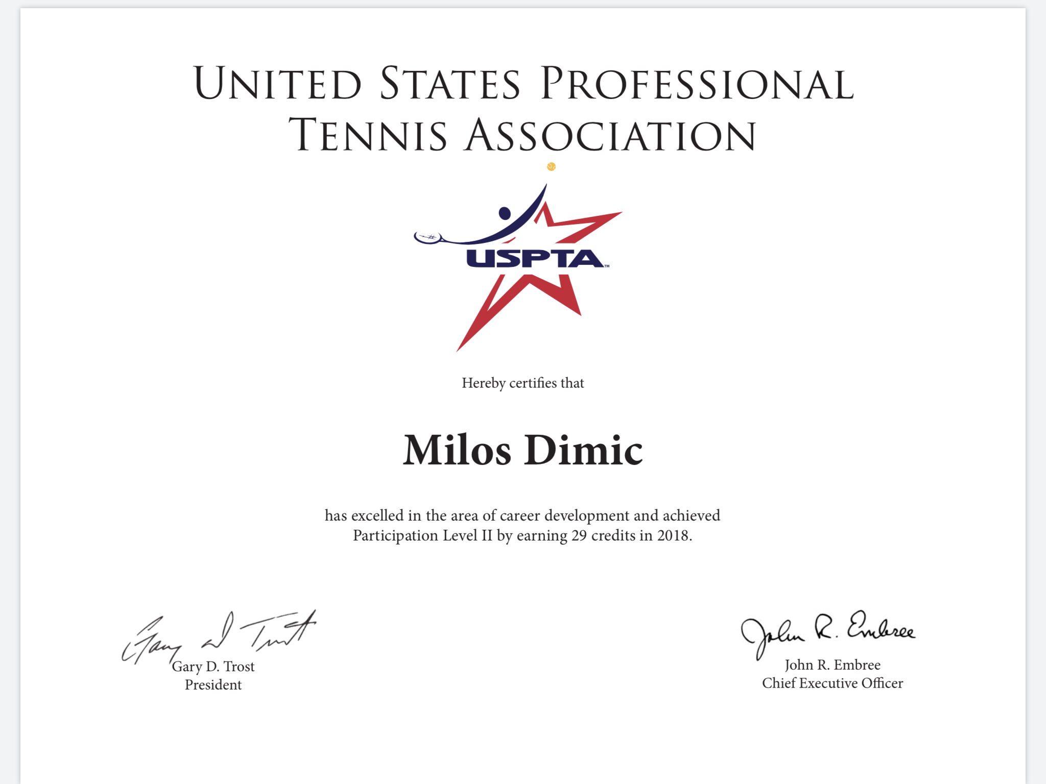 Thank you USPTA